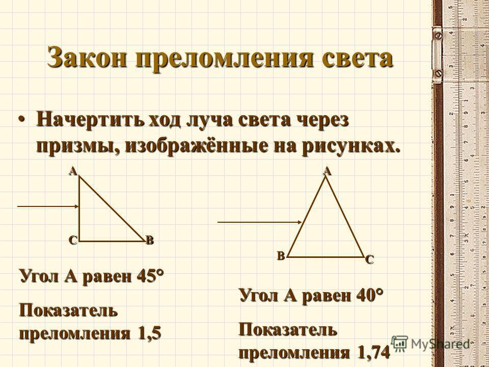 Решение задач законы геометрической оптики