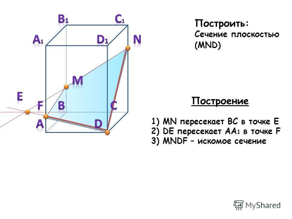 Построить: Сечение плоскостью (MND) Построение 1) MN пересекает BC в точке E 2) DE пересекает AA 1 в точке F 3) MNDF – искомое сечение