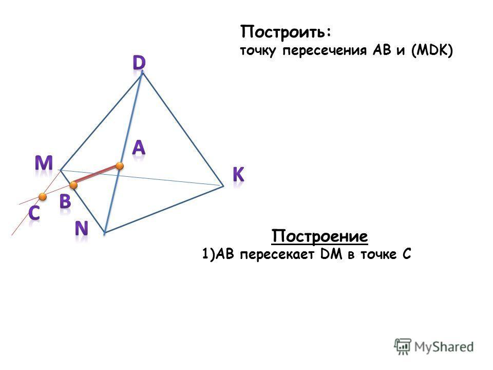 Построить: точку пересечения AB и (MDK) Построение 1)AB пересекает DM в точке C