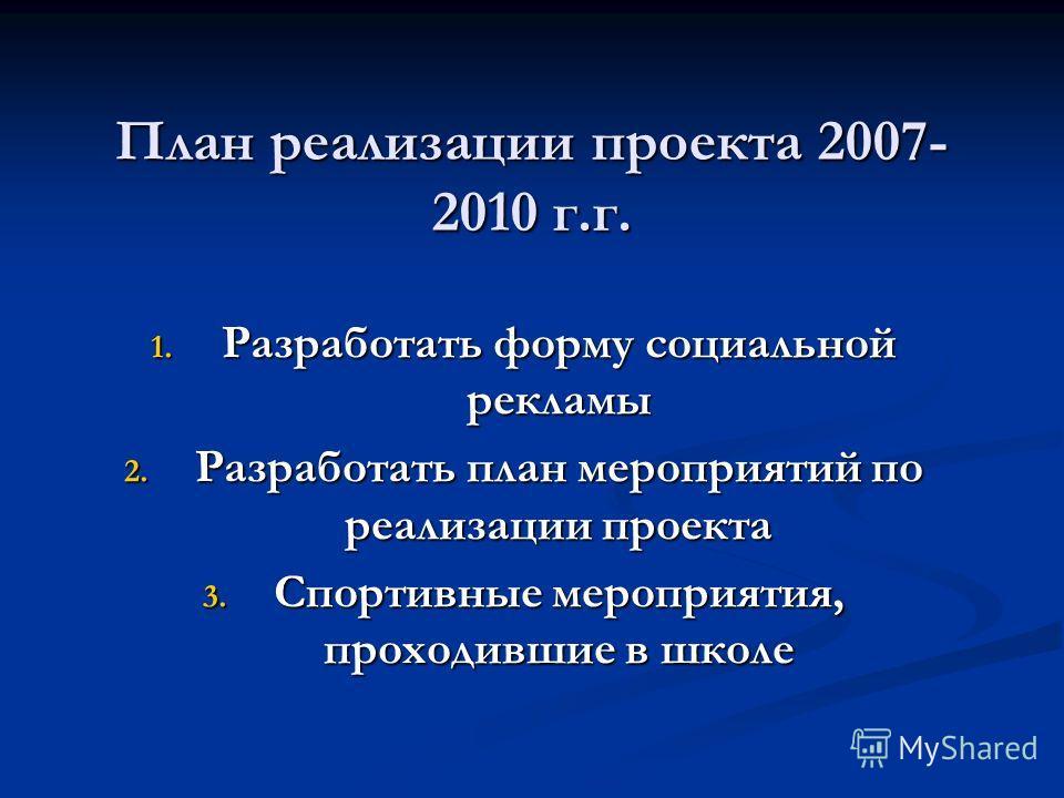 План реализации проекта 2007- 2010 г.г. 1. Разработать форму социальной рекламы 2. Разработать план мероприятий по реализации проекта 3. Спортивные мероприятия, проходившие в школе