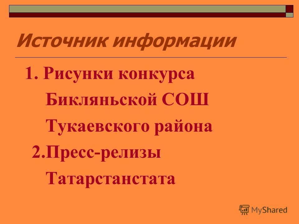 Источник информации 1. Рисунки конкурса Бикляньской СОШ Тукаевского района 2.Пресс-релизы Татарстанстата