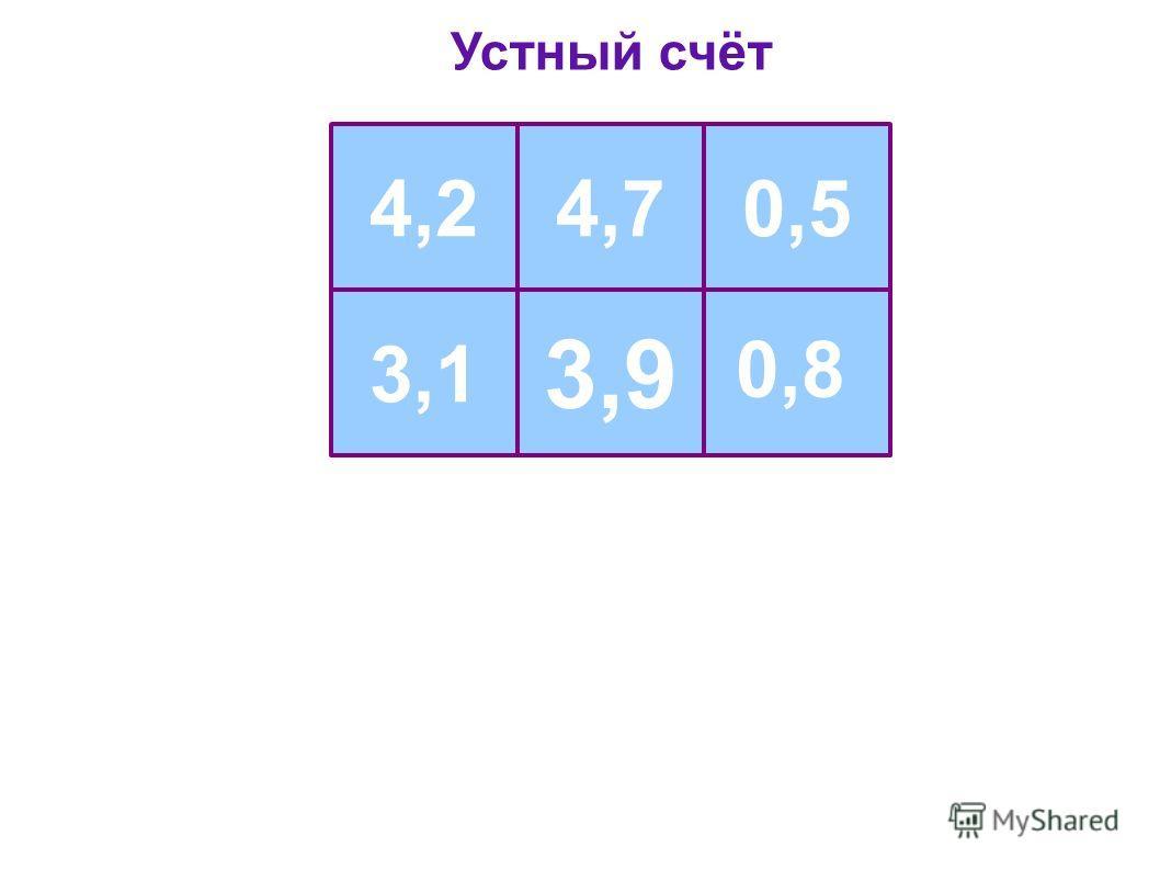 Устный счёт 4,24,70,5 3,1 0,8 3,9