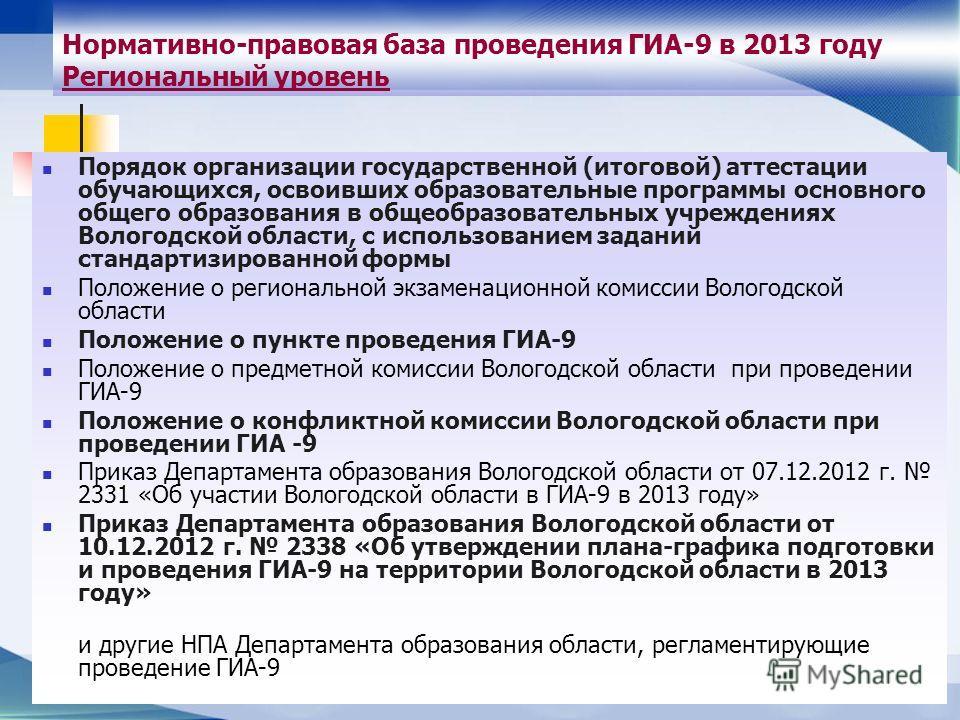 Нормативно-правовая база проведения ГИА-9 в 2013 году Региональный уровень Порядок организации государственной (итоговой) аттестации обучающихся, освоивших образовательные программы основного общего образования в общеобразовательных учреждениях Волог