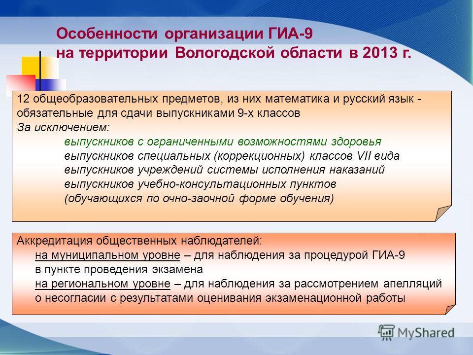 * Особенности организации ГИА-9 на территории Вологодской области в 2013 г. 12 общеобразовательных предметов, из них математика и русский язык - обязательные для сдачи выпускниками 9-х классов За исключением: выпускников с ограниченными возможностями