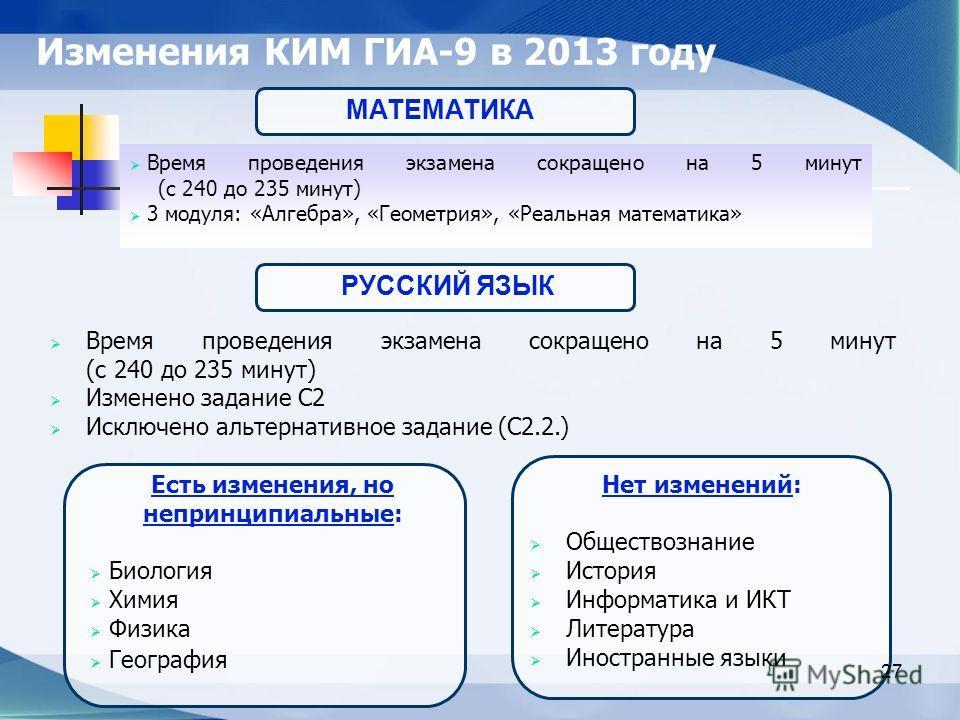Изменения КИМ ГИА-9 в 2013 году Время проведения экзамена сокращено на 5 минут (с 240 до 235 минут) 3 модуля: «Алгебра», «Геометрия», «Реальная математика» 27 МАТЕМАТИКА Время проведения экзамена сокращено на 5 минут (с 240 до 235 минут) Изменено зад