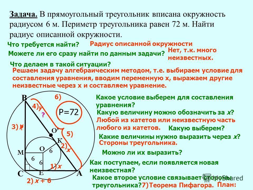 Задача. В прямоугольный треугольник вписана окружность радиусом 6 м. Периметр треугольника равен 72 м. Найти радиус описанной окружности. А Е С В ? О К М О 6 6 6 Что требуется найти? Р=72 Радиус описанной окружности Можете ли его сразу найти по данны