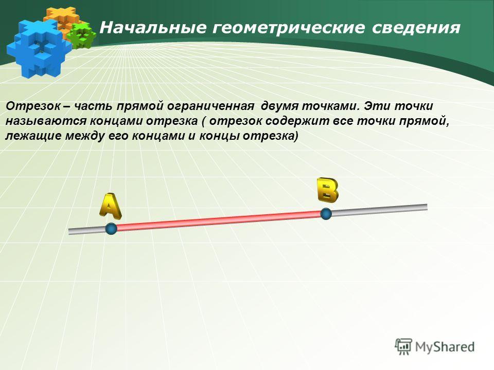 Начальные геометрические сведения Отрезок – часть прямой ограниченная двумя точками. Эти точки называются концами отрезка ( отрезок содержит все точки прямой, лежащие между его концами и концы отрезка)