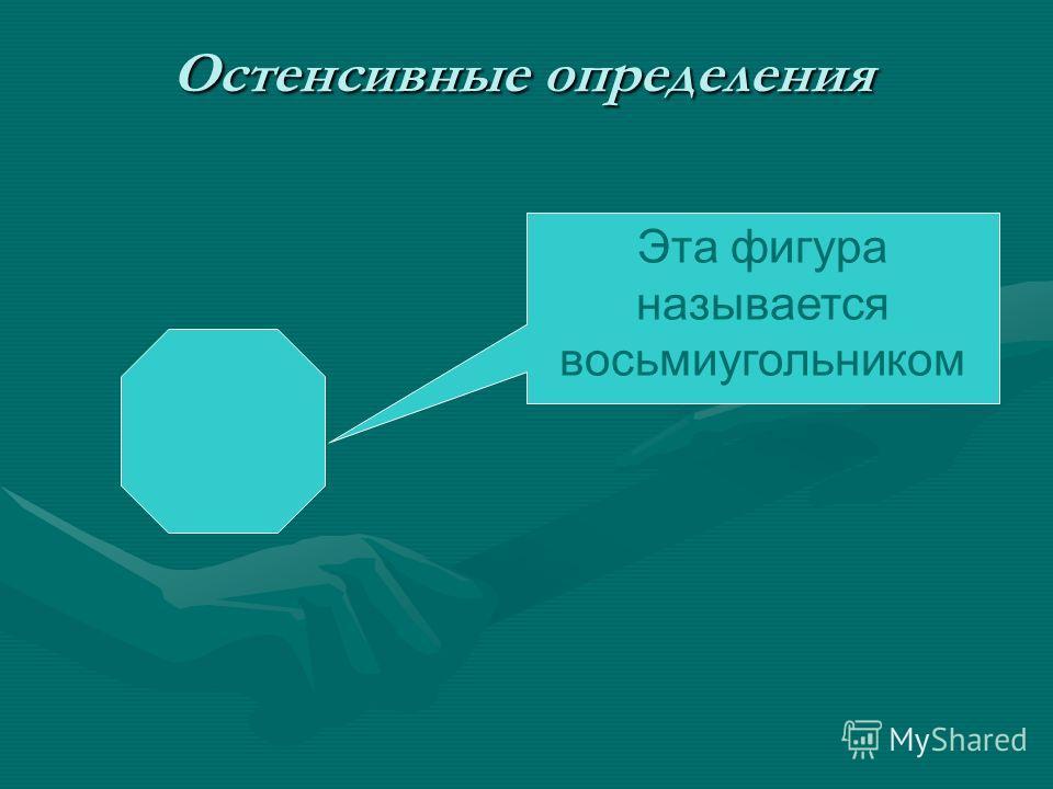 Остенсивные определения Эта фигура называется восьмиугольником