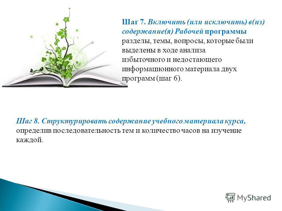 Шаг 7. Включить (или исключить) в(из) содержание(я) Рабочей программы разделы, темы, вопросы, которые были выделены в ходе анализа избыточного и недостающего информационного материала двух программ (шаг 6). Шаг 8. Структурировать содержание учебного