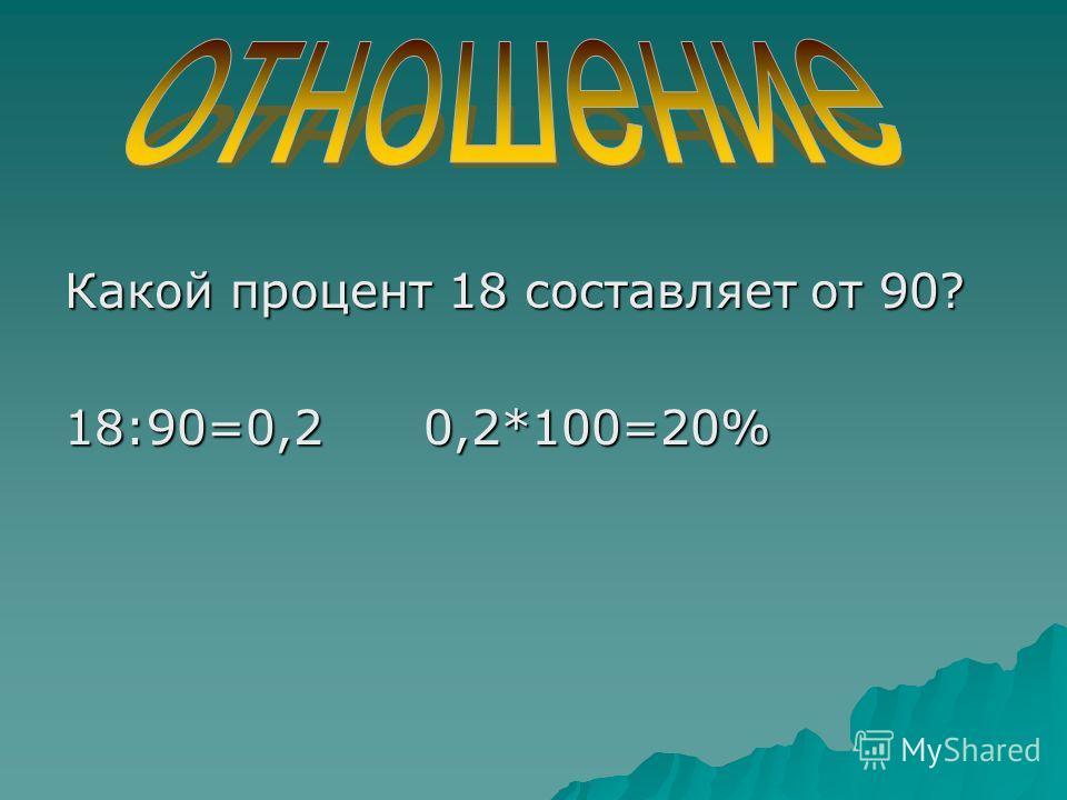 Какой процент 18 составляет от 90? 18:90=0,2 0,2*100=20%