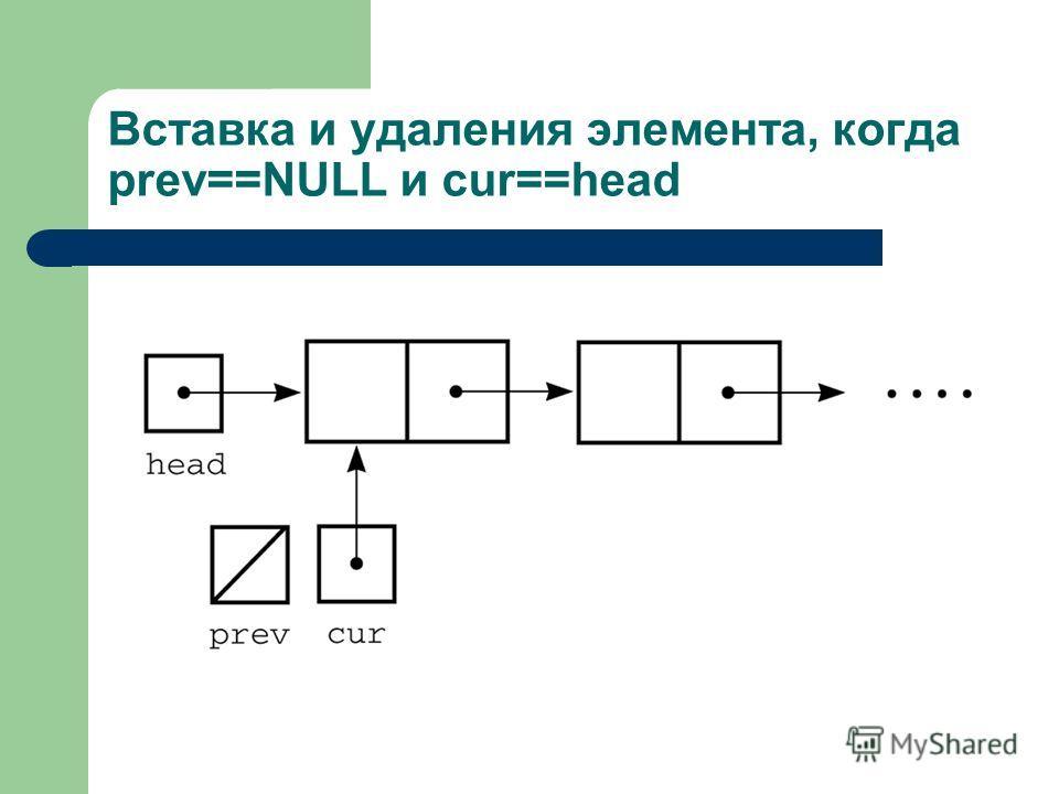 Вставка и удаления элемента, когда prev==NULL и cur==head