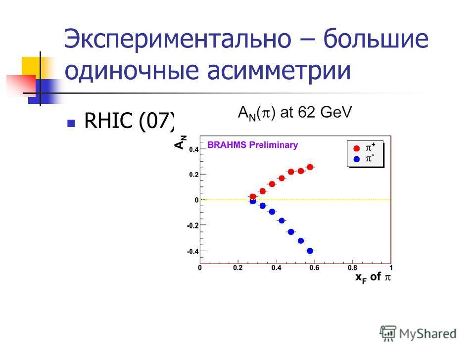 Экспериментально – большие одиночные асимметрии RHIC (07)