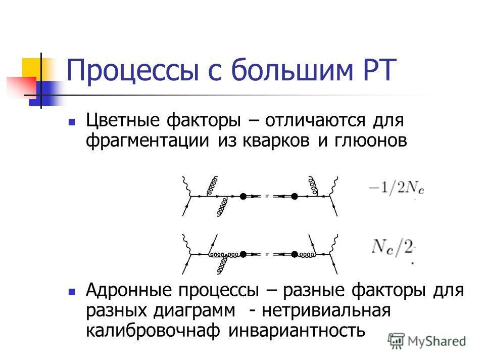 Процессы с большим PT Цветные факторы – отличаются для фрагментации из кварков и глюонов Адронные процессы – разные факторы для разных диаграмм - нетривиальная калибровочнаф инвариантность