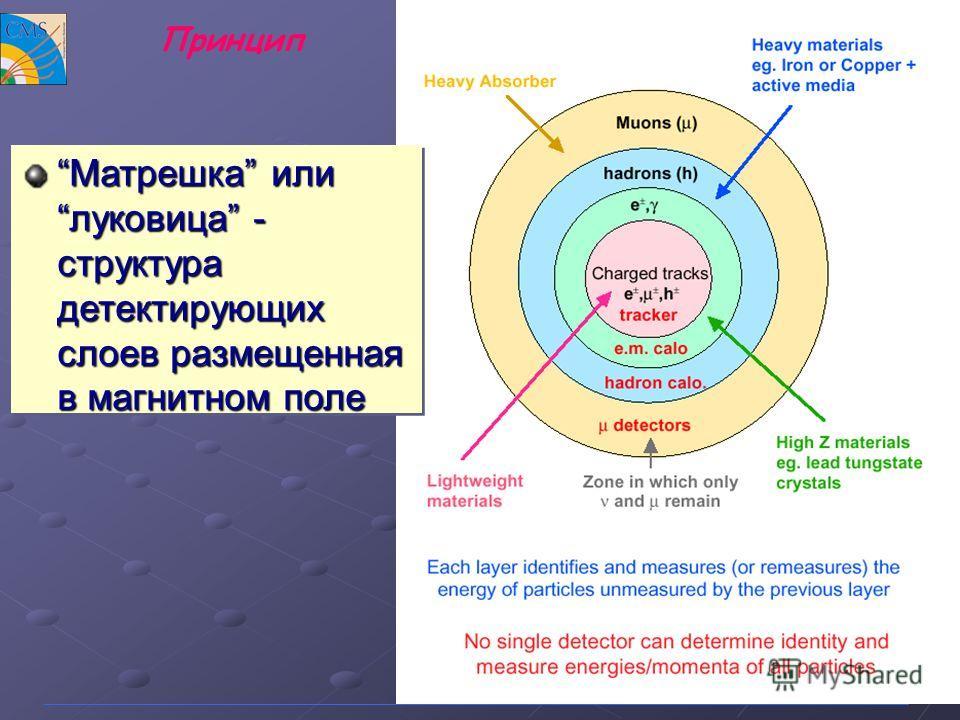 9 Принцип Матрешка илилуковица - структура детектирующих слоев размещенная в магнитном полеМатрешка илилуковица - структура детектирующих слоев размещенная в магнитном поле