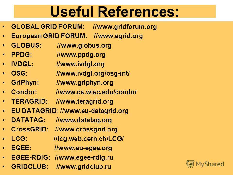 Useful References: GLOBAL GRID FORUM: //www.gridforum.org European GRID FORUM: //www.egrid.org GLOBUS: //www.globus.org PPDG: //www.ppdg.org IVDGL: //www.ivdgl.org OSG: //www.ivdgl.org/osg-int/ GriPhyn: //www.griphyn.org Condor: //www.cs.wisc.edu/con