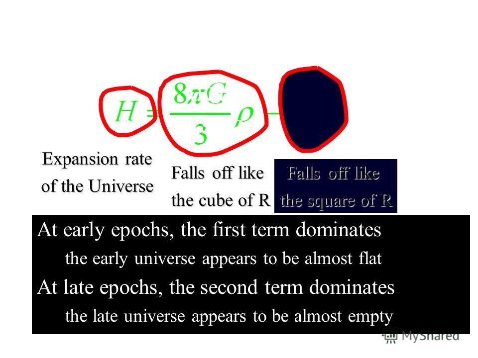 At early epochs, the first term dominates the early universe appears to be almost flat At late epochs, the second term dominates the late universe appears to be almost empty At early epochs, the first term dominates the early universe appears to be a
