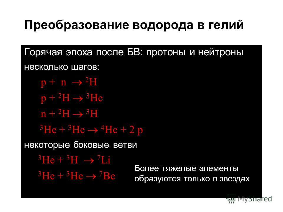 Преобразование водорода в гелий Горячая эпоха после БВ: протоны и нейтроны несколько шагов: p + n 2 H p + 2 H 3 He n + 2 H 3 H 3 He + 3 He 4 He + 2 p некоторые боковые ветви 3 He + 3 H 7 Li 3 He + 3 He 7 Be Более тяжелые элементы образуются только в