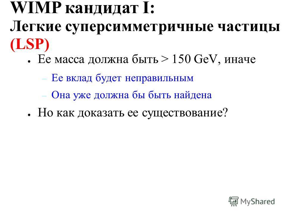 Главная задача физики частиц: найти объединение четырем силам. Суперсимметрия – многообещающая теория объединения Легчайшая суперсимметричная частица (neutralino) должна быть стабильной WIMP кандидат I: Легкие суперсимметричные частицы (LSP)