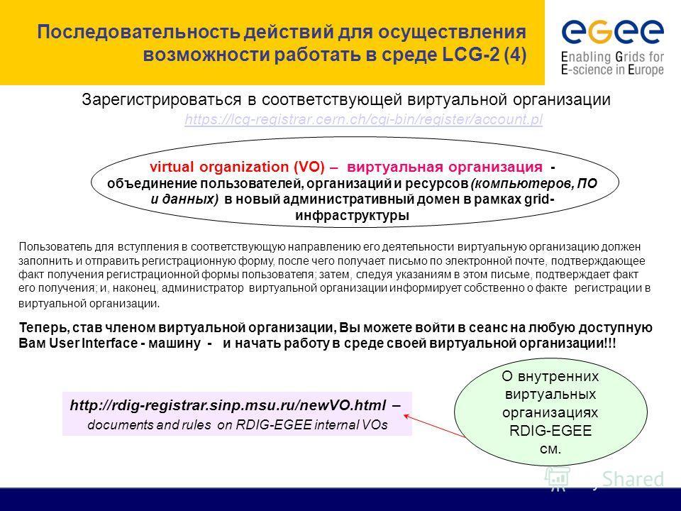 Последовательность действий для осуществления возможности работать в среде LCG-2 (4) Зарегистрироваться в соответствующей виртуальной организации https://lcg-registrar.cern.ch/cgi-bin/register/account.pl https://lcg-registrar.cern.ch/cgi-bin/register