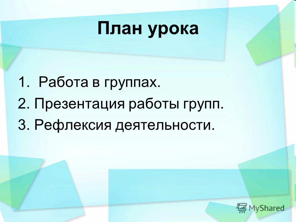 План урока 1. Работа в группах. 2. Презентация работы групп. 3. Рефлексия деятельности.