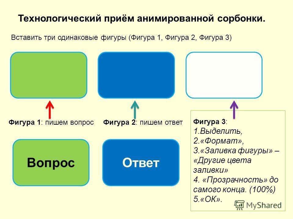 Технологический приём анимированной сорбонки. Вставить три одинаковые фигуры (Фигура 1, Фигура 2, Фигура 3) Фигура 1: пишем вопрос Вопрос Фигура 2: пишем ответ Ответ Фигура 3: 1.Выделить, 2.«Формат», 3.«Заливка фигуры» – «Другие цвета заливки» 4. «Пр