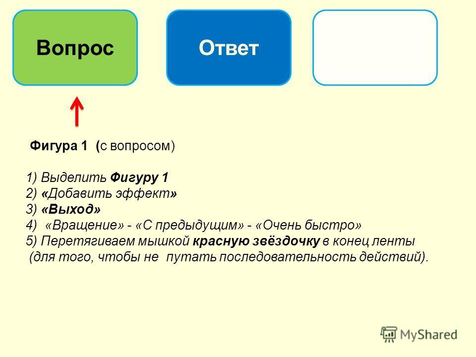 Фигура 1 (с вопросом) 1) Выделить Фигуру 1 2) «Добавить эффект» 3) «Выход» 4) «Вращение» - «С предыдущим» - «Очень быстро» 5) Перетягиваем мышкой красную звёздочку в конец ленты (для того, чтобы не путать последовательность действий). ВопросОтвет