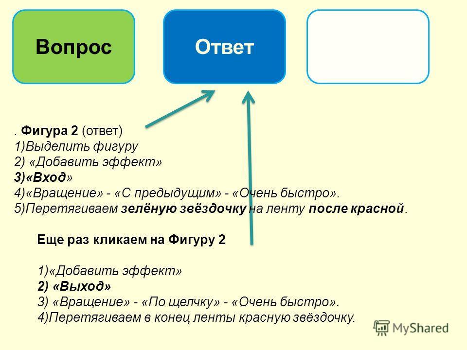 ВопросОтвет. Фигура 2 (ответ) 1)Выделить фигуру 2) «Добавить эффект» 3)«Вход» 4)«Вращение» - «С предыдущим» - «Очень быстро». 5)Перетягиваем зелёную звёздочку на ленту после красной. Еще раз кликаем на Фигуру 2 1)«Добавить эффект» 2) «Выход» 3) «Вращ