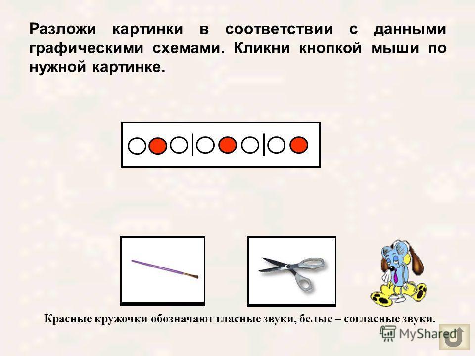 Определи количество звуков в названии каждой картинки и кликни кнопкой мыши по выбранной цифре.