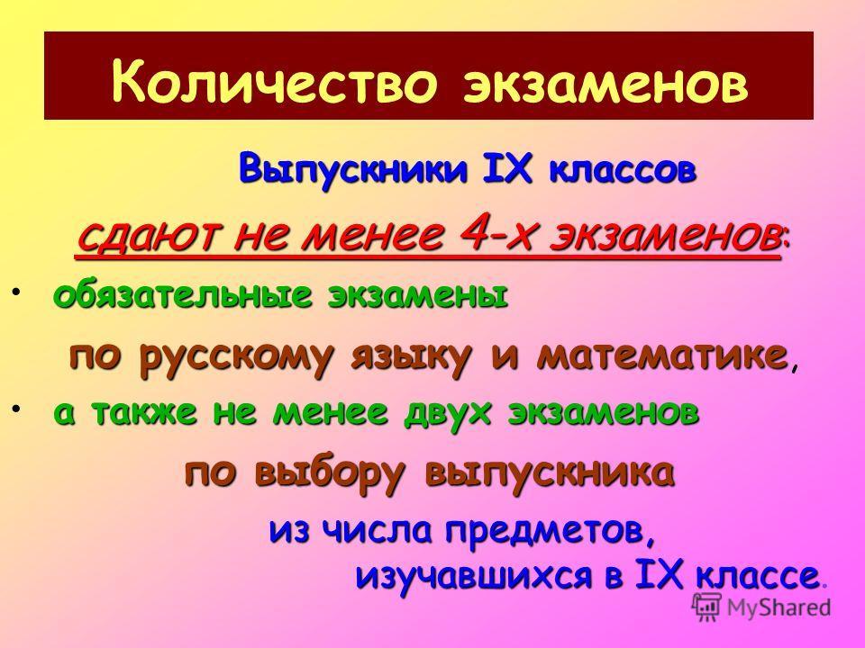 Количество экзаменов Выпускники IX классов сдают не менее 4-х экзаменов : обязательные экзамены по русскому языку и математике по русскому языку и математике, а также не менее двух экзаменов по выбору выпускника из числа предметов, изучавшихся в IX к
