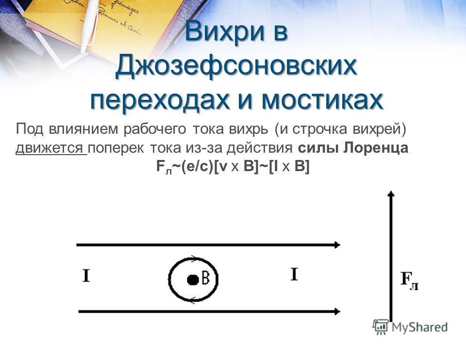 Вихри в Джозефсоновских переходах и мостиках Под влиянием рабочего тока вихрь (и строчка вихрей) движется поперек тока из-за действия силы Лоренца F л ~(e/c)[v x B]~[I x B]