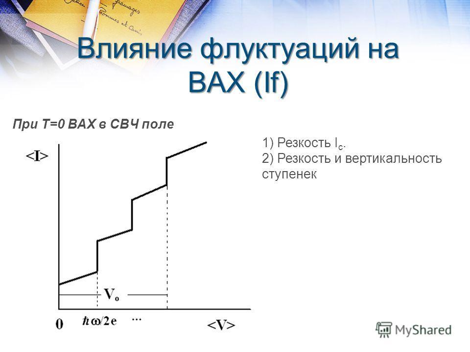 Влияние флуктуаций на ВАХ (If) При Т=0 ВАХ в СВЧ поле 1) Резкость I c. 2) Резкость и вертикальность ступенек