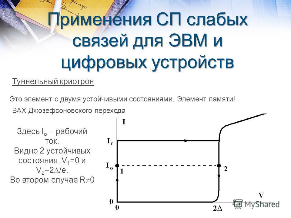 Применения СП слабых связей для ЭВМ и цифровых устройств Туннельный криотрон Это элемент с двумя устойчивыми состояниями. Элемент памяти! ВАХ Джозефсоновского перехода Здесь I o – рабочий ток. Видно 2 устойчивых состояния: V 1 =0 и V 2 =2 /e. Во втор