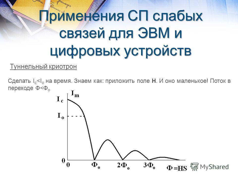 Применения СП слабых связей для ЭВМ и цифровых устройств Туннельный криотрон Сделать I c
