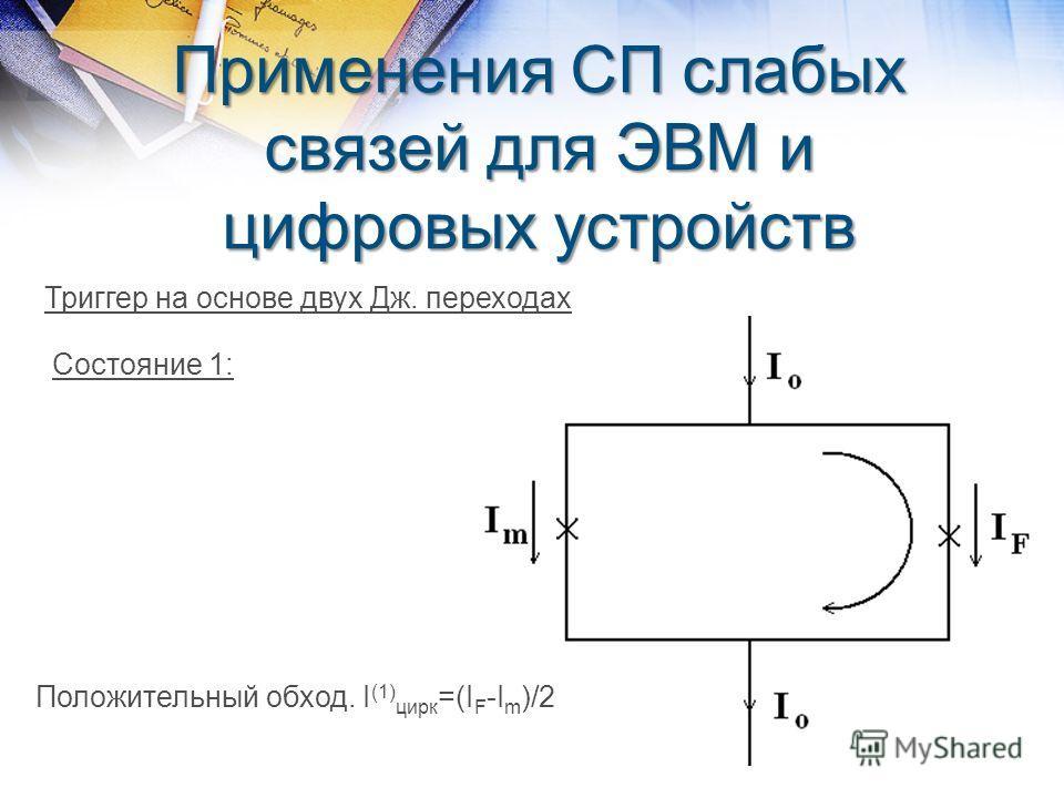Применения СП слабых связей для ЭВМ и цифровых устройств Триггер на основе двух Дж. переходах Состояние 1: Положительный обход. I (1) цирк =(I F -I m )/2