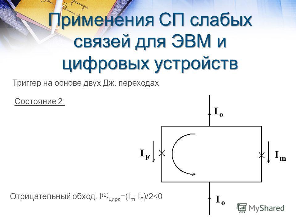 Применения СП слабых связей для ЭВМ и цифровых устройств Триггер на основе двух Дж. переходах Состояние 2: Отрицательный обход. I (2) цирк =(I m -I F )/2