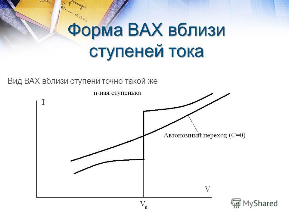 Форма ВАХ вблизи ступеней тока Вид ВАХ вблизи ступени точно такой же