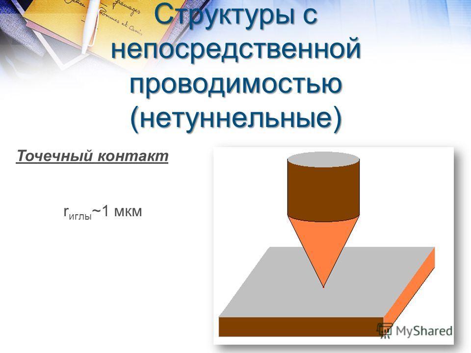 Структуры с непосредственной проводимостью (нетуннельные) Точечный контакт r иглы ~1 мкм