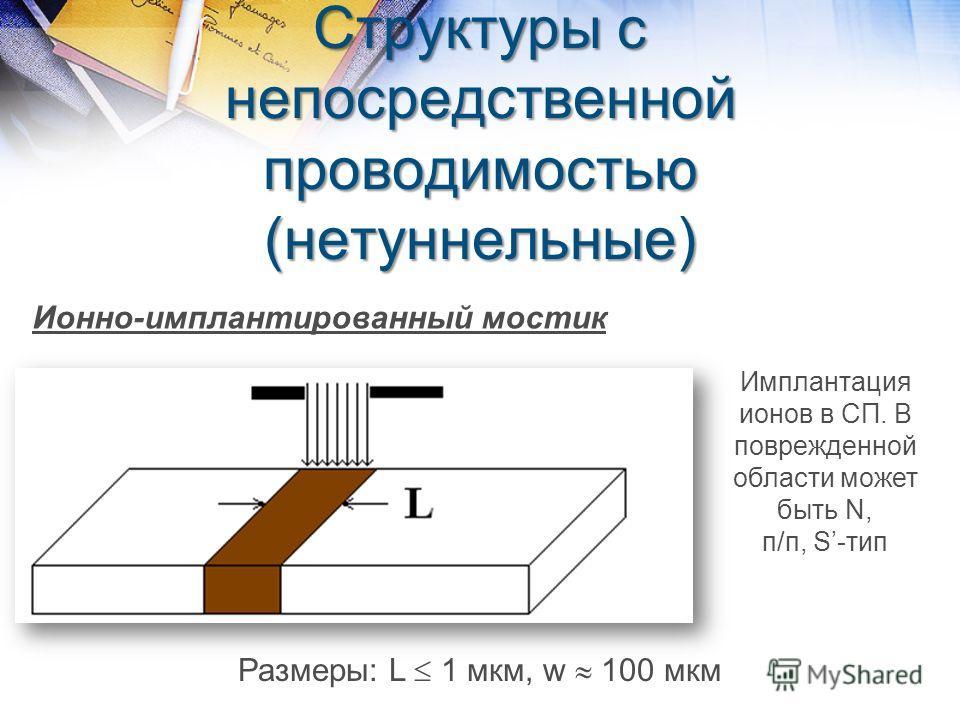 Структуры с непосредственной проводимостью (нетуннельные) Ионно-имплантированный мостик Имплантация ионов в СП. В поврежденной области может быть N, п/п, S-тип Размеры: L 1 мкм, w 100 мкм