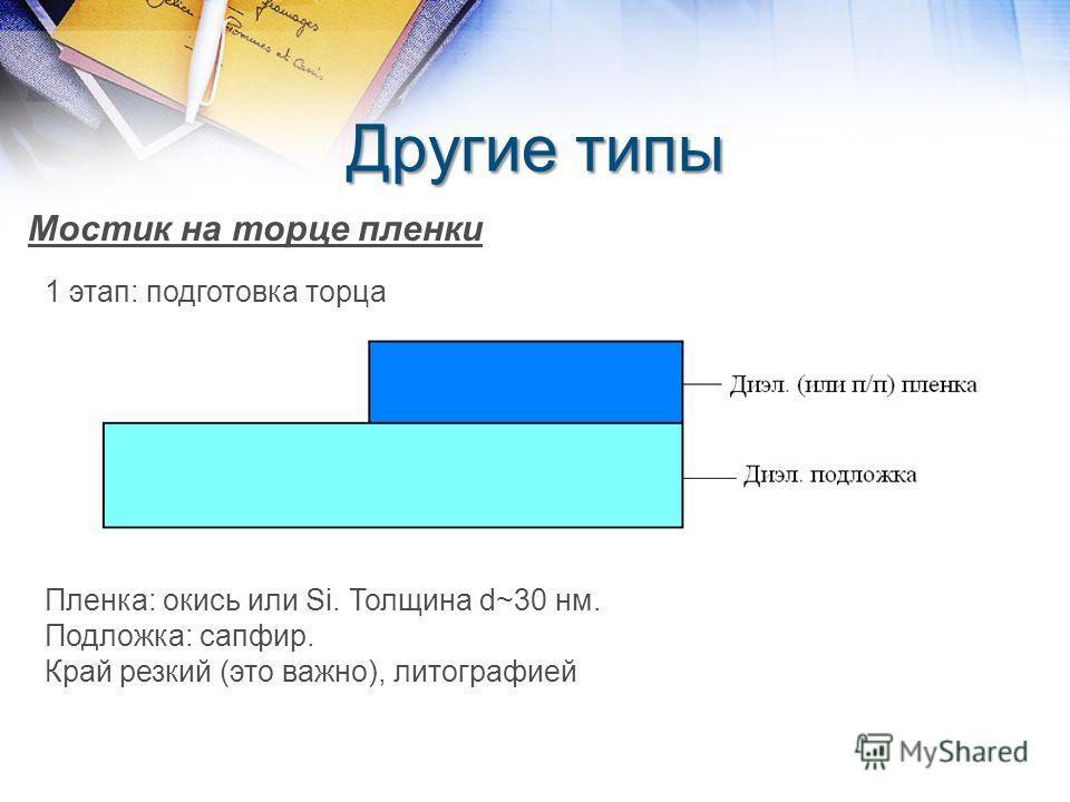 Другие типы Мостик на торце пленки 1 этап: подготовка торца Пленка: окись или Si. Толщина d~30 нм. Подложка: сапфир. Край резкий (это важно), литографией