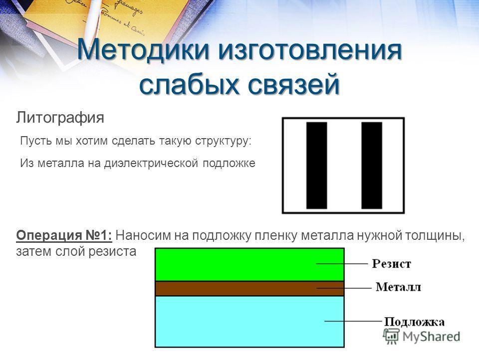 Методики изготовления слабых связей Литография Пусть мы хотим сделать такую структуру: Из металла на диэлектрической подложке Операция 1: Наносим на подложку пленку металла нужной толщины, затем слой резиста