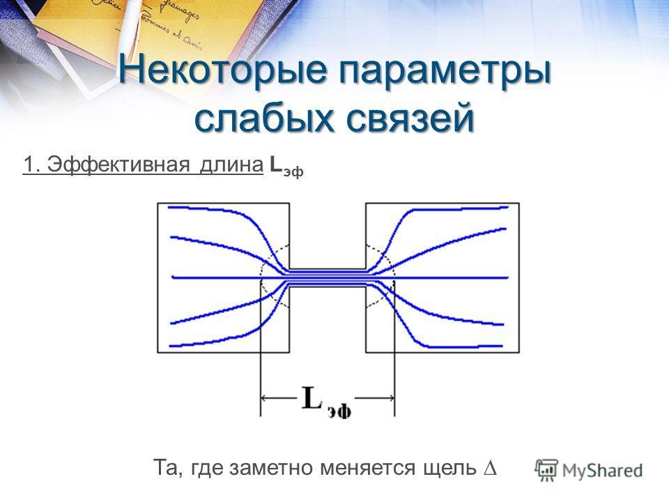 Некоторые параметры слабых связей 1. Эффективная длина L эф Та, где заметно меняется щель