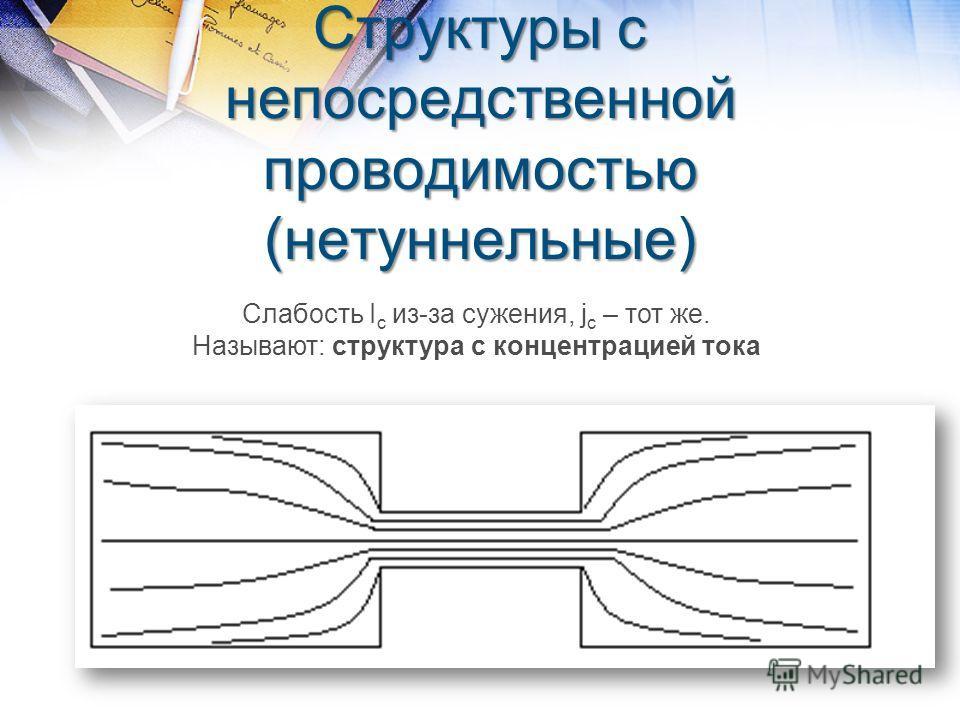 Структуры с непосредственной проводимостью (нетуннельные) Слабость I c из-за сужения, j c – тот же. Называют: структура с концентрацией тока