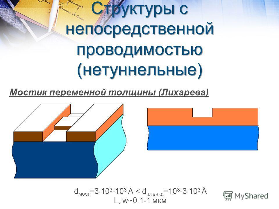 Структуры с непосредственной проводимостью (нетуннельные) Мостик переменной толщины (Лихарева) d мост =3 10 3 -10 3 Å < d пленка =10 3 -3 10 3 Å L, w~0.1-1 мкм