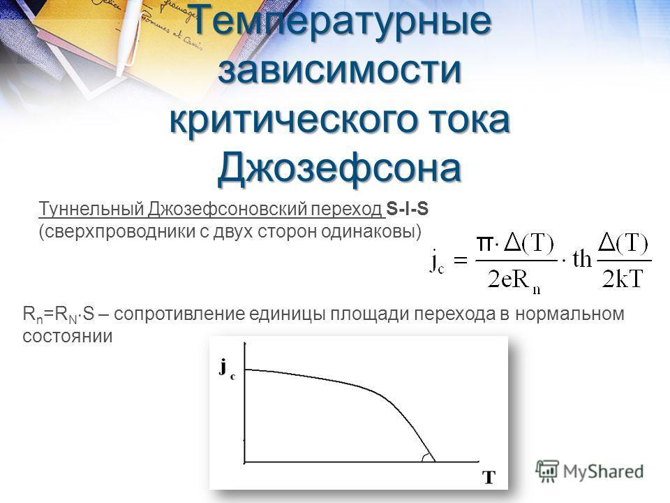 Температурные зависимости критического тока Джозефсона Туннельный Джозефсоновский переход S-I-S (сверхпроводники с двух сторон одинаковы) R n =R N S – сопротивление единицы площади перехода в нормальном состоянии