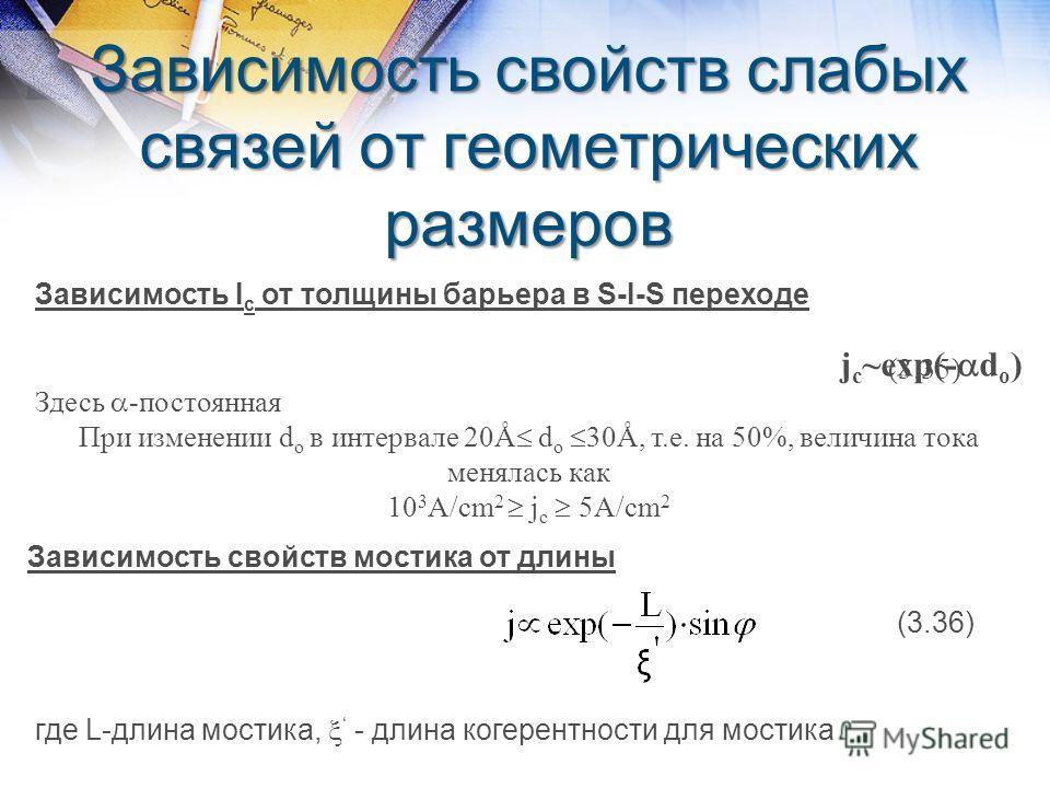 Зависимость свойств слабых связей от геометрических размеров Зависимость I c от толщины барьера в S-I-S переходе j c ~exp(- d o ) Здесь -постоянная При изменении d o в интервале 20Å d o 30Å, т.е. на 50%, величина тока менялась как 10 3 A/cm 2 j с 5A/