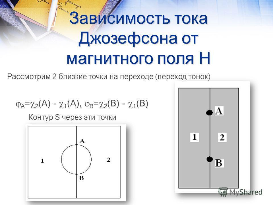 Зависимость тока Джозефсона от магнитного поля Н Рассмотрим 2 близкие точки на переходе (переход тонок) А = 2 (А) - 1 (А), В = 2 (В) - 1 (В) Контур S через эти точки