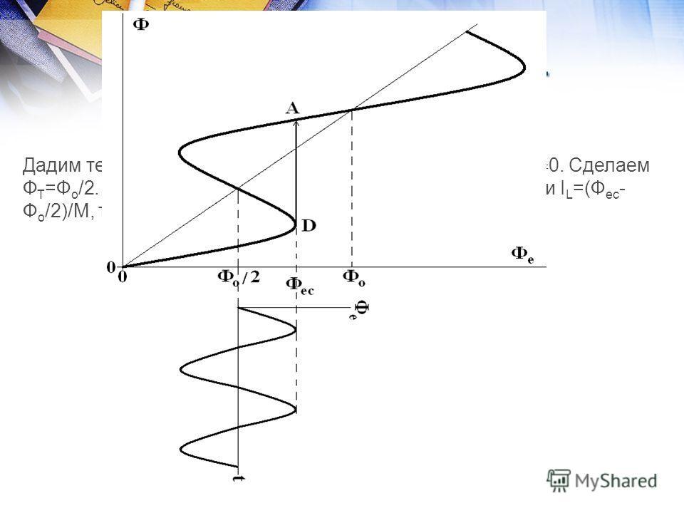 Принцип работы ВЧ- СКВИДа Дадим теперь ток через входную катушку СКВИДа. Т.е. Ф Т 0. Сделаем Ф Т =Ф о /2. Ясно, что теперь Ф ес будет достигнуто раньше, при I L =(Ф ес - Ф о /2)/М, т.е. плато начнется при V o =V o2