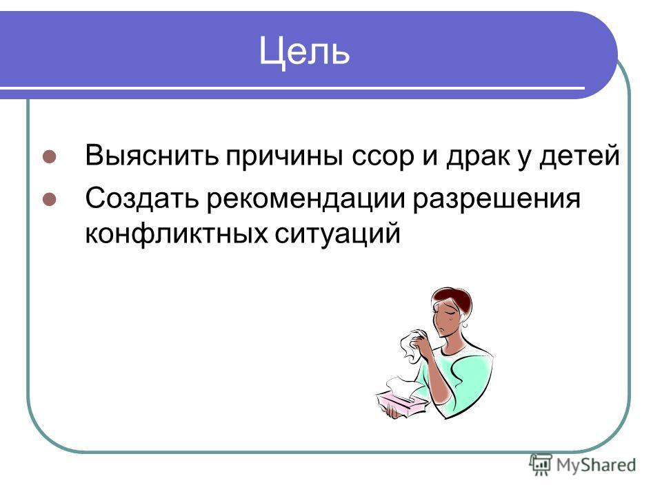 Цель Выяснить причины ссор и драк у детей Создать рекомендации разрешения конфликтных ситуаций