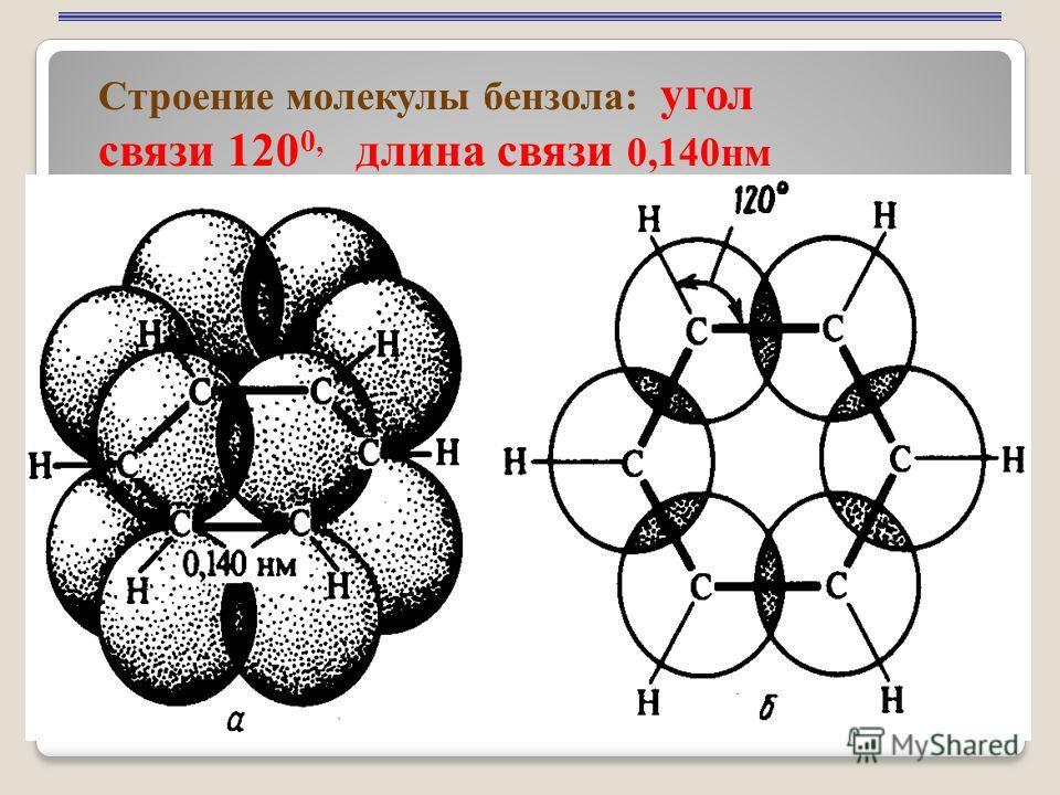 10 Строение молекулы бензола: угол связи 120 0, длина связи 0,140нм