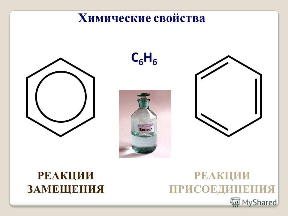 С6Н6С6Н6 РЕАКЦИИ ЗАМЕЩЕНИЯ РЕАКЦИИ ПРИСОЕДИНЕНИЯ Химические свойства